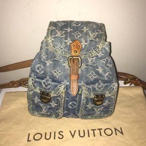 Louis Vuitton sac a dos denim mini backpack!